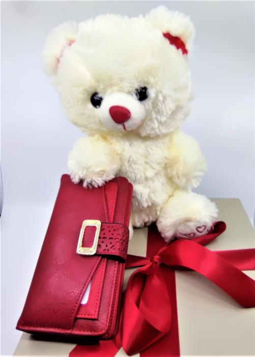 Pachet Promo portofel de dama rosu si ursulet de plus ivory 30cm [0]
