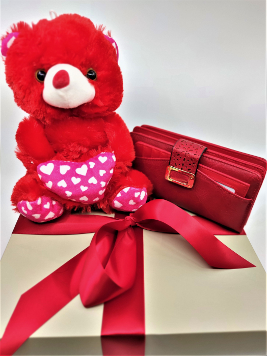 Pachet Promo portofel de dama rosu si ursulet de plus rosu 30cm [0]