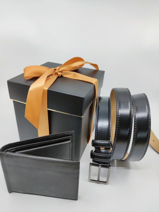 Pachet Promo Portofel de piele si Curea de barbati 135cm, negru lucios, C135N-LY1925-P1373 [3]