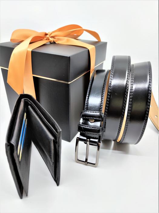 Pachet Promo Portofel de piele si Curea de barbati 135cm, negru lucios, C135N-LY1925-P1373 [1]