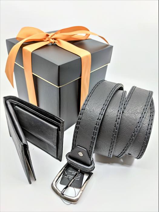 Pachet Promo Portofel de piele si Curea de barbati 130cm, negru, C130NG-LY0577-P1373 [5]