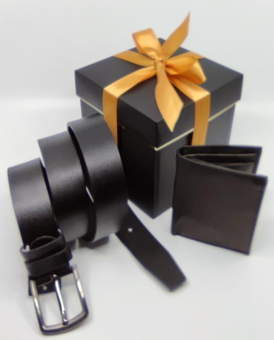 Pachet Promo Portofel de piele si Curea de barbati 135cm, negru, C135NG-LY0577 [4]