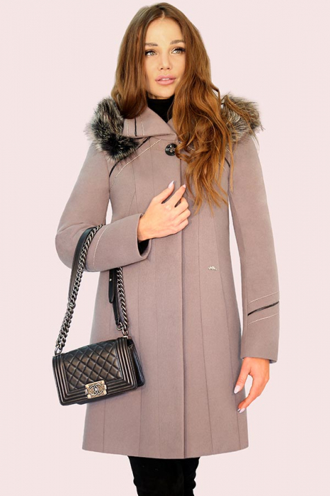 Palton elegant din stofa fina, OLGA  G9 culoarea capucinno [0]