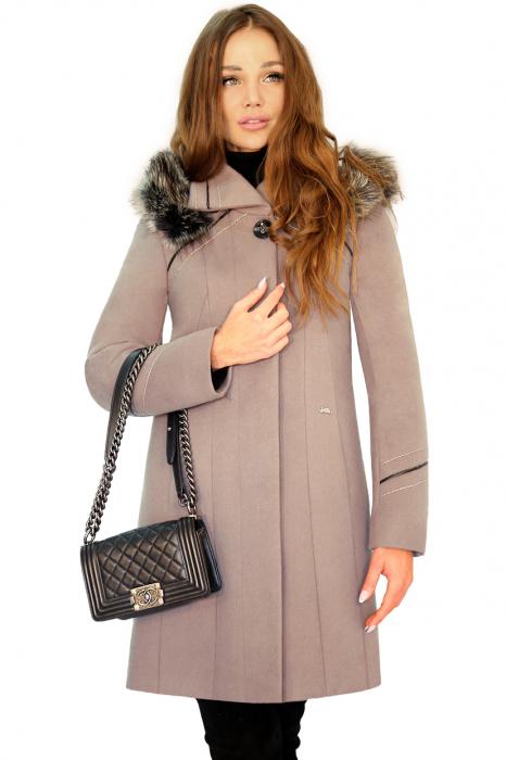 Palton elegant din stofa fina, OLGA  G9 culoarea capucinno [1]