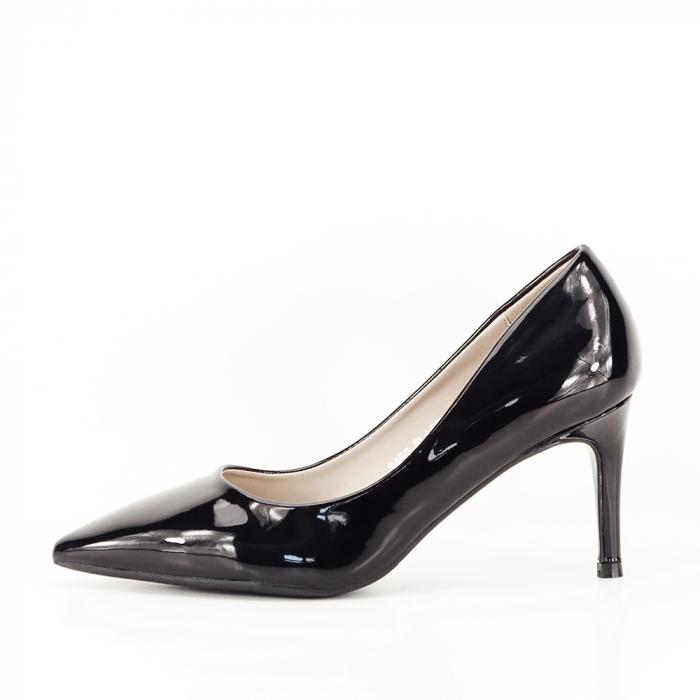Pantofi stiletto negri de lac,cu toc mediu din piele ecologica 2