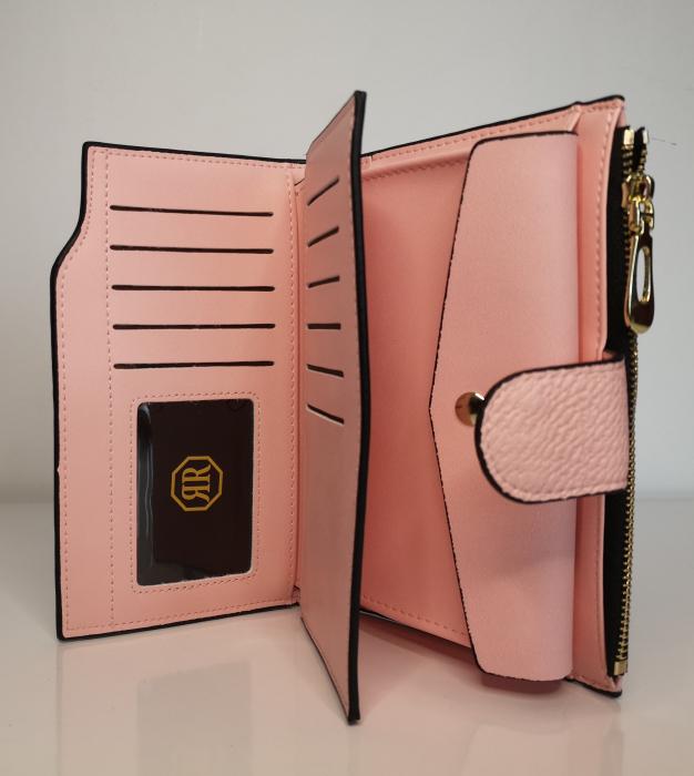 Portofel de dama din piele ecologica AB2035M pink 1
