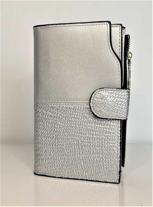 Portofel de dama din piele ecologica AB2035M silver 0