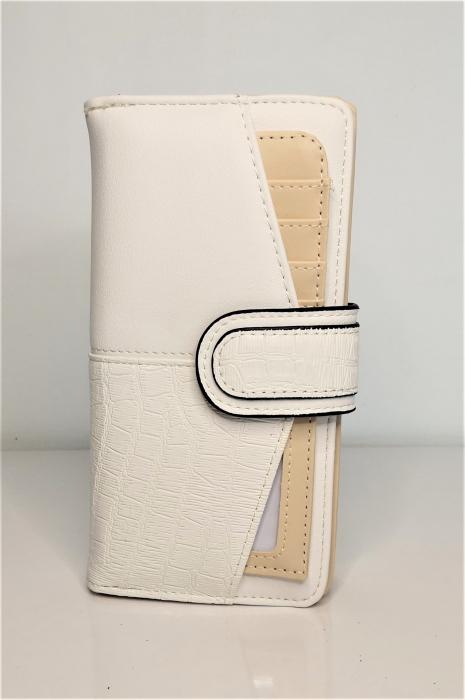 Portofel de dama din piele ecologica AB601L alb 0