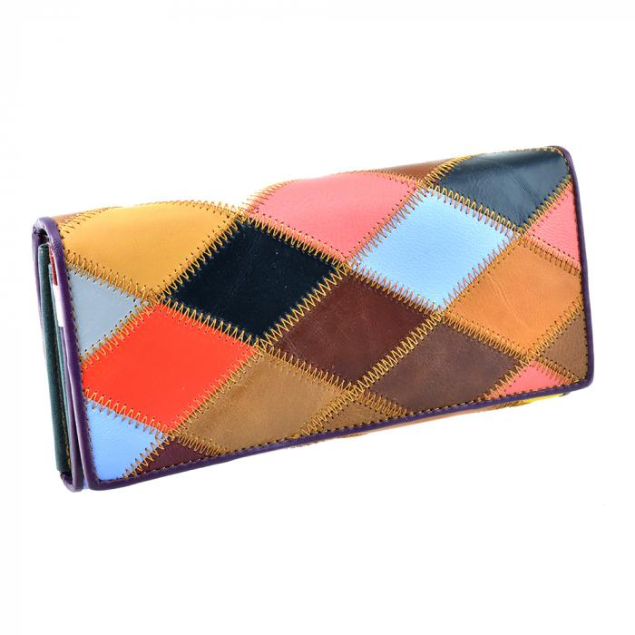 Portofel multicolor, de dama, din piele naturala, 8226-22 0