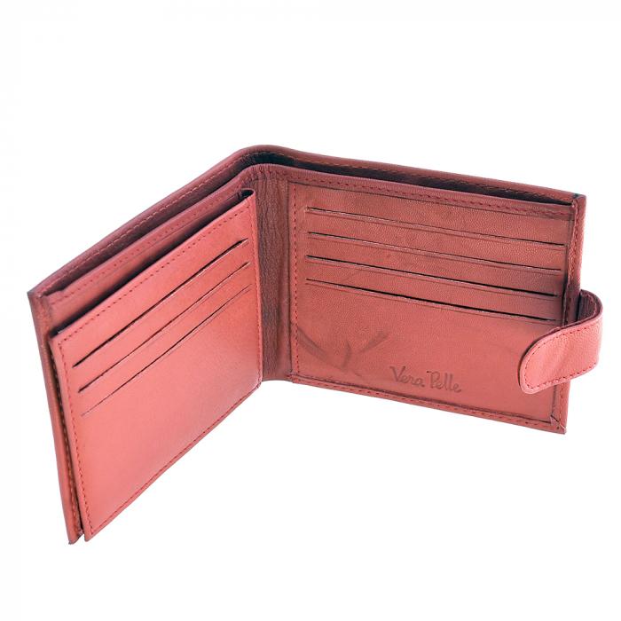 Portofel rosu, pentru barbati, din piele naturala, 1101-1 [1]
