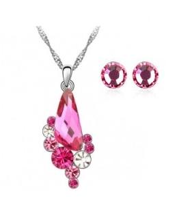 Promo Colier ANGEL DROP  rose cu cristale + cercei asortati CADOU [0]