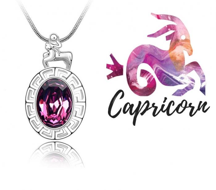 Colier Horoscop - Capricorn purple cu cristale si placat cu aur [0]