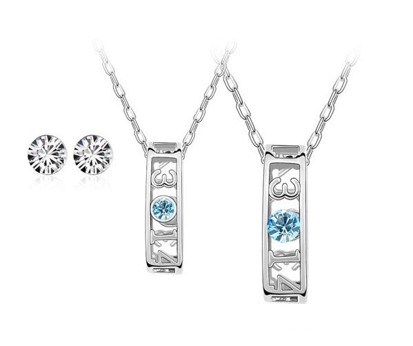 PROMO Set coliere cuplu EL si EA, cu cristale aquamarine, placate cu cu aur 18k [0]