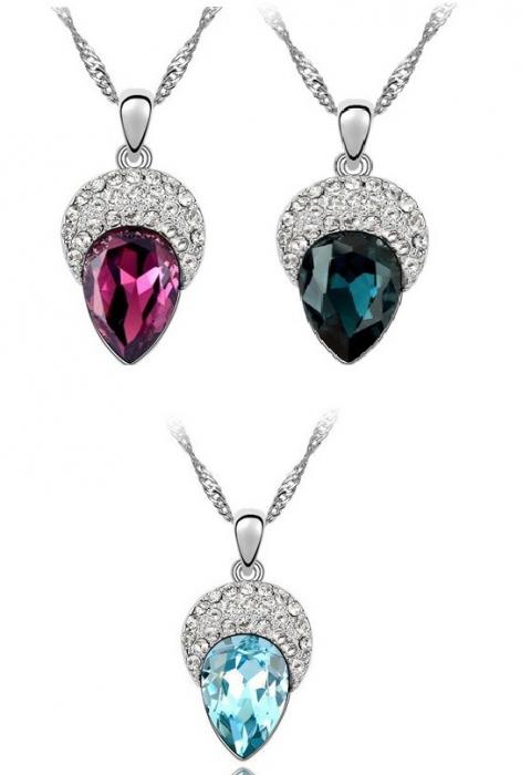 PROMO Set coliere GHINDA in 3 culori, cu cristale aquamarine, purple si blueink, placate cu cu aur 18k - Copie 0