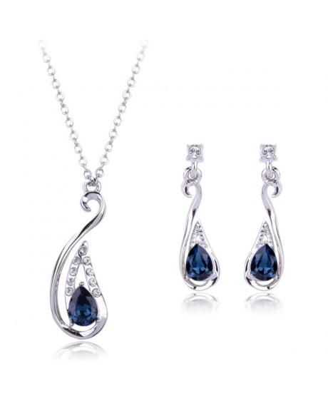 Set de bijuterii Arina Drop blueink cu cristale, placat cu aur 18K si garantie 6 luni 0