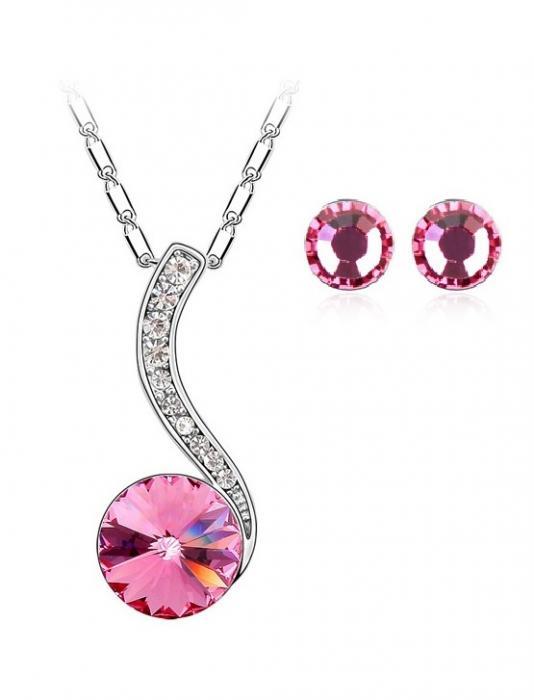 Set bijuterii Adela rose cu cristale, garantie 6 luni 0