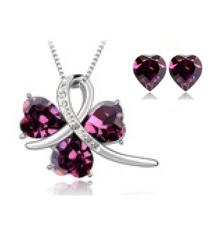 Set bijuterii   SWEET LEAF purple cu cristale, placat cu aur 18k [0]