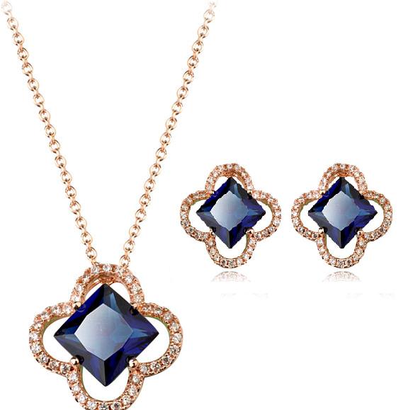 Set bijuterii cu cristale Square blue capri din 2 piese, placat cu aur 18k si garantie 6 luni 0