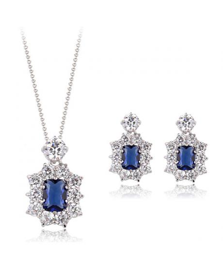 Set bijuterii din 3 piese Regal Blue cu cristale, placata cu aur 18K si garantie 6 luni in cutie de bijuterii din piele ecologica 0