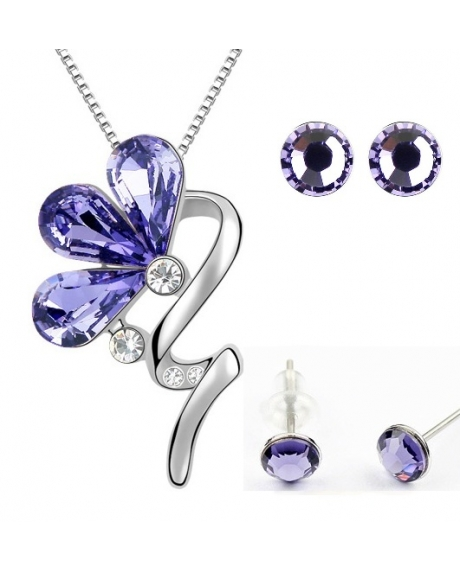 Set BLOOM LITTLE SHINE violet inchis cu cristale swarovski 0