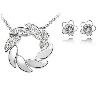 Set de bijuterii cu cristale AMURG ALB din 2 piese, placat cu aur 18k si garantie 6 luni [0]