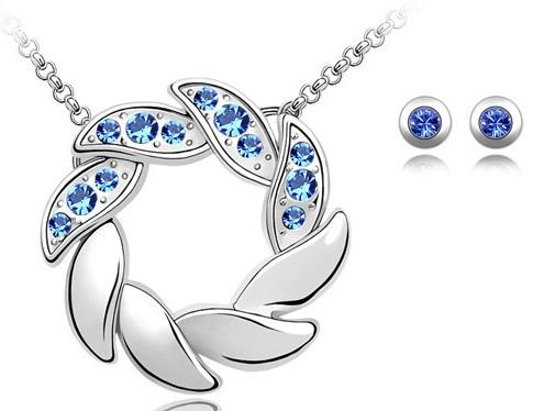 Set de bijuterii cu cristale AMURG blue din 2 piese, placat cu aur 18k si garantie 6 luni [0]