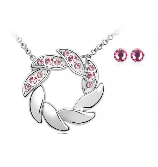 Set de bijuterii cu cristale AMURG roz din 2 piese, placat cu aur 18k si garantie 6 luni [0]
