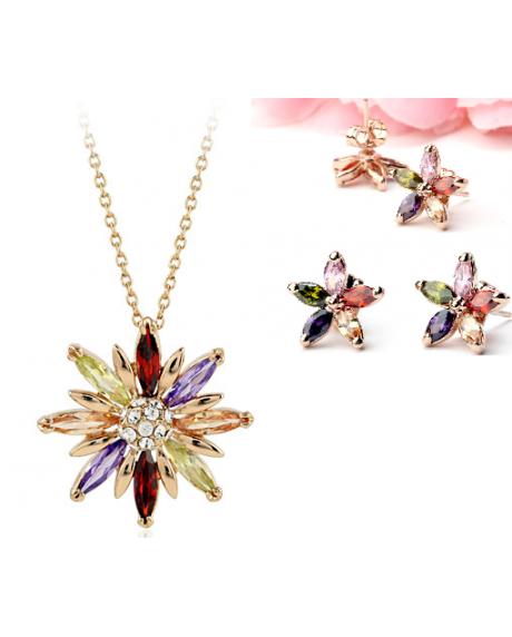 Set de bijuterii cu cristale STAR multicolor placat cu aur 18k si garantie 6 luni 0