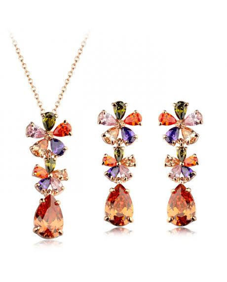 Set bijuterii Excentric Drop cu cristale multicolore, placat cu aur 18K si garantie 6 luni 0