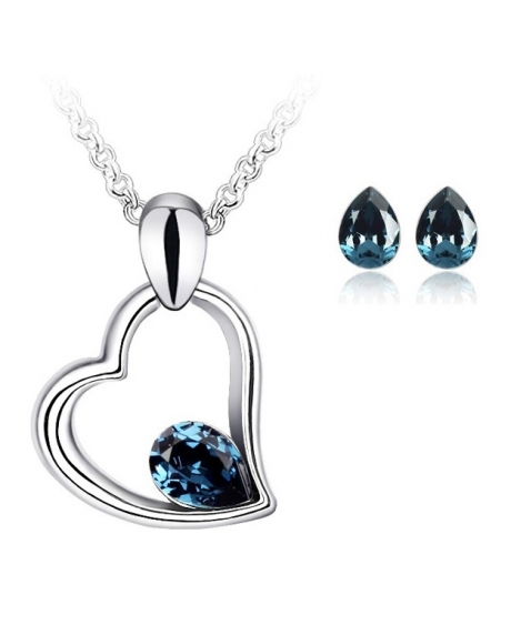 Set EXPENSIVE HEART blueink cu cristale swarovski 0