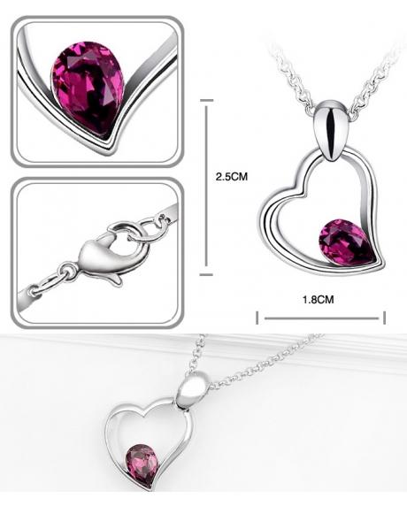 Set EXPENSIVE HEART purple cu cristale swarovski 1