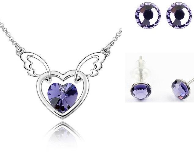 Set FANTASY HEART Violet inchis cu cristale,placat cu aur alb 18k [0]