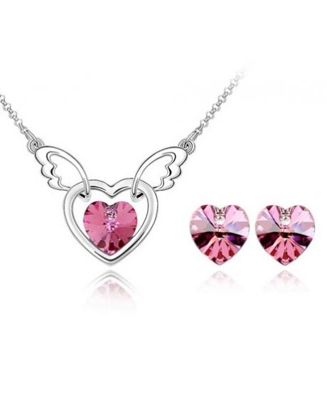 Set FANTASY HEART rose deschis cu cristale swarovski 0