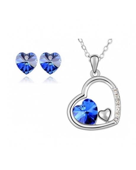 Set  bijuterii FANTASY HEART blue capri  cu cristale swarovski 0