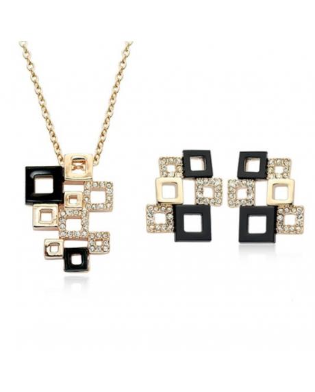 Set bijuterii Splendid Square black, cu cristale si garantie produs 6 luni 0