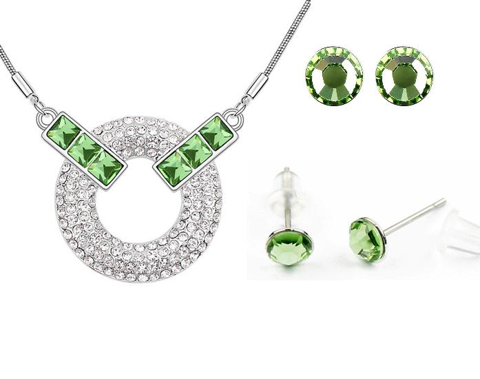 Set MOONLIGHT SQUARE SHINE verde cu cristale [0]