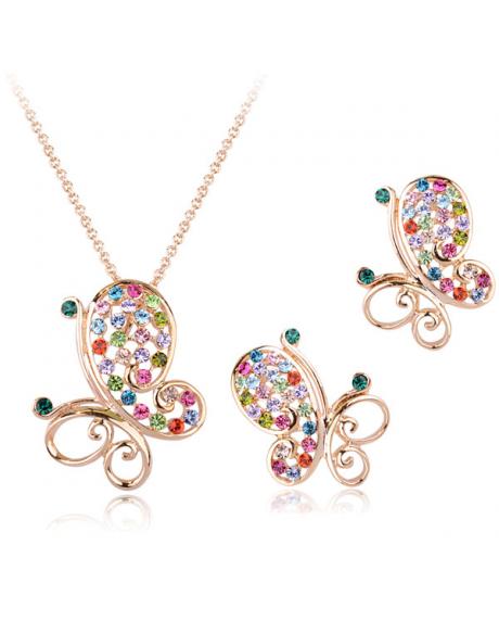 Set bijuterii Butterfly cu cristale multicolore, placat cu aur 18K si garantie 6 luni 0