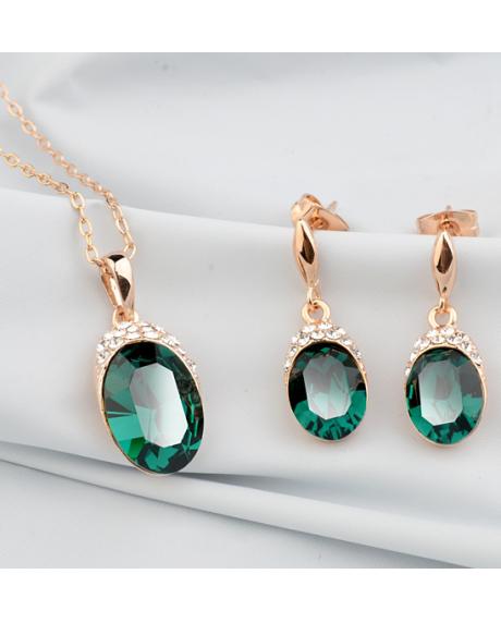 Set bijuterii Regal Green cu cristale, placata cu aur 18K si garantie 6 luni in cutie de bijuterii din piele ecologica 0