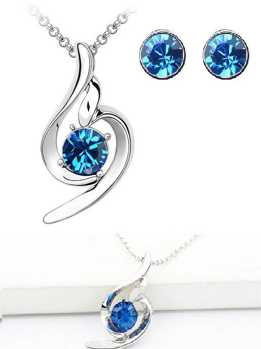 Set SOFT albastru cu cristale, placat cu aur alb 18k [0]