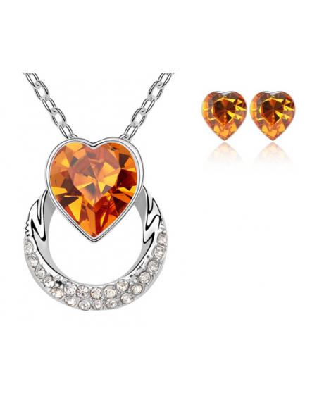 Set bijuterii Wish Love orange-portocaliu cu cristale Swarovski placat cu aur alb 0