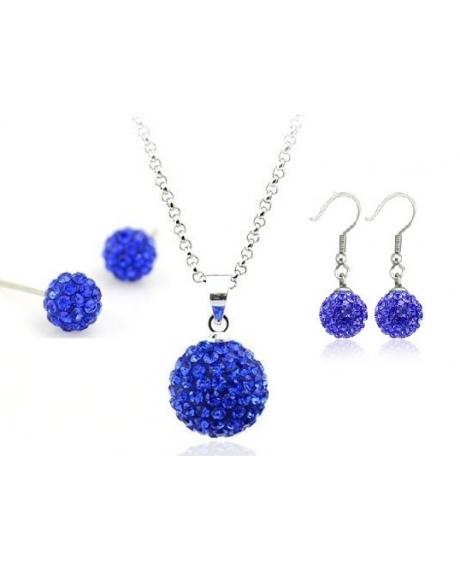 Set bijuteriii SHAMBALA albastru inchis-blue capri cu 2 perechi de cercei 0