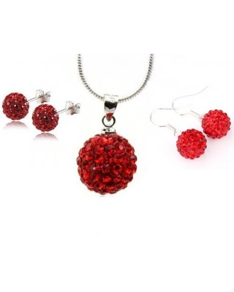 Set bijuteriii SHAMBALA rose cu 2 perechi de cercei cu cristale 0