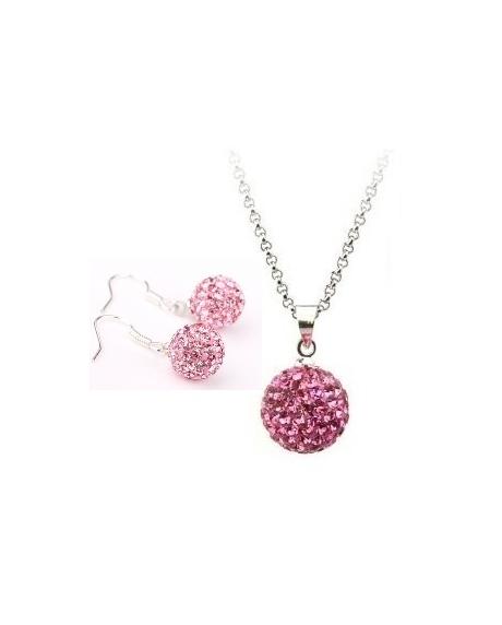 Set bijuteriii SHAMBALA lung  rose cu cristale 0