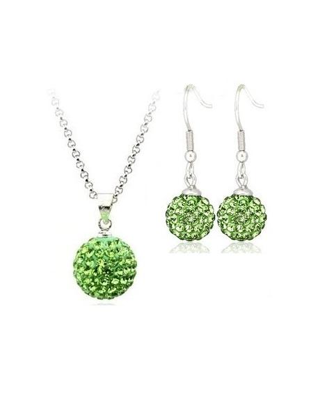 Set bijuteriii SHAMBALA lung green-verde cu cristale 0