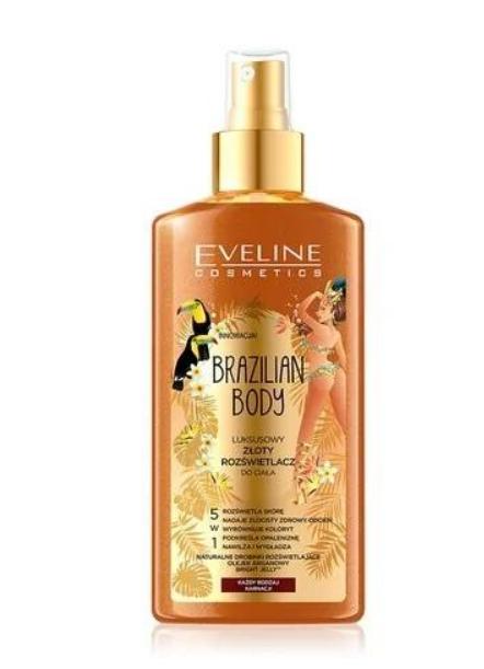 Spray iluminator cu particule de aur Eveline Cosmetics Brazilian Body;  iluminează pielea, oferindu-i o nuanță de aur.