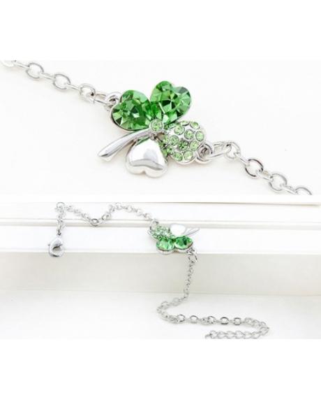 Bratara SWEET 4 LEAF green cu cristale, garantie produs 6 luni 0