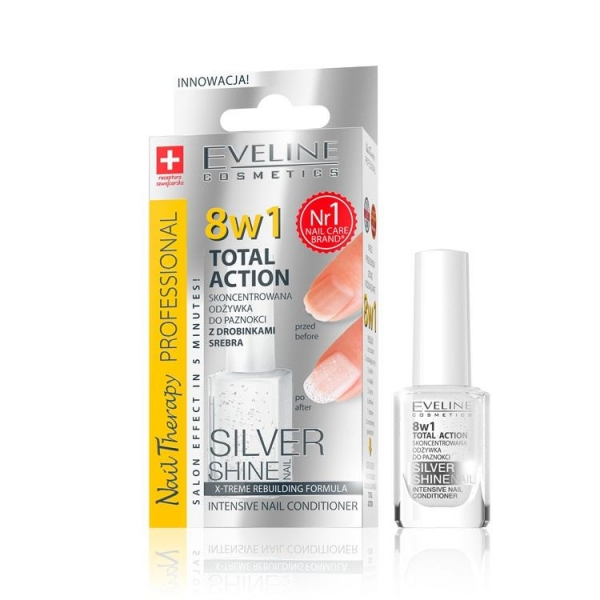Tratament unghii 8in1 Eveline Professional Silver Shine 12 ml 0