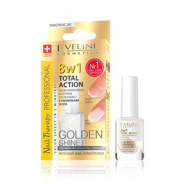 Tratament unghii 8in1 Eveline Professional GOLD Shine 12 ml 0