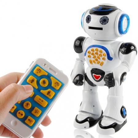 Robot Inteligent Alb  cu Telecomanda, danseaza, canta, arunca discuri, actionare si de pe telefon0