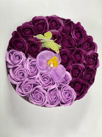 Aranjament floral cu 27 flori trandafiri si orhidee din sapun, SC-R139_M1 [2]